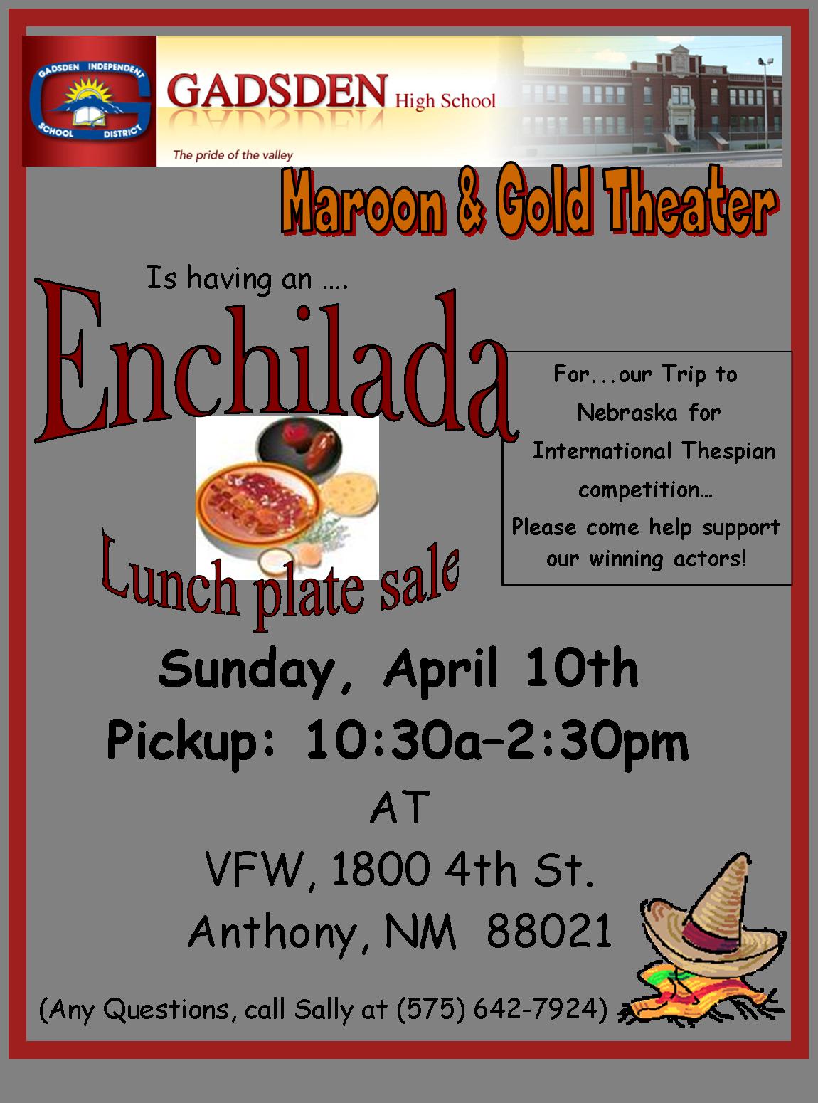 Enchilada plate flyer sally 39 s world for Fishing sponsorship application